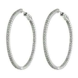CZ by Kenneth jay lane 50mm / 2 in hoop earrings